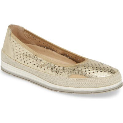 Vaneli Quartz Perforated Espadrille Flat- Metallic