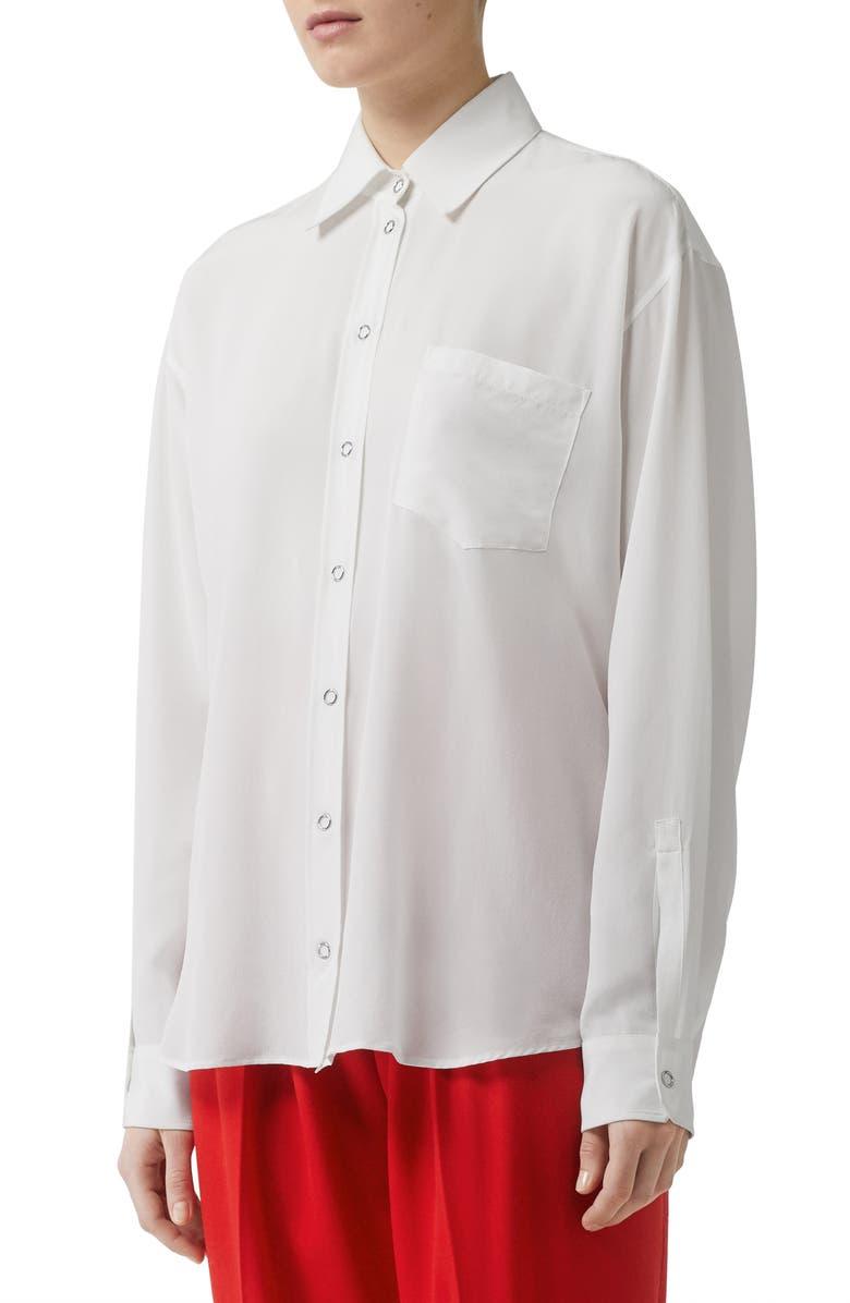 BURBERRY Marika Silk Blouse, Main, color, OPTIC WHITE