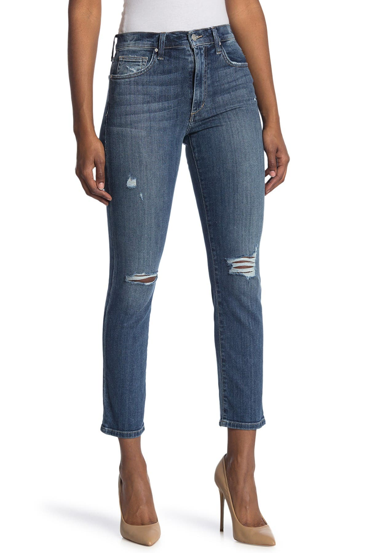 Image of Joe's Jeans High Rise Distressed Straight Ankle Jeans