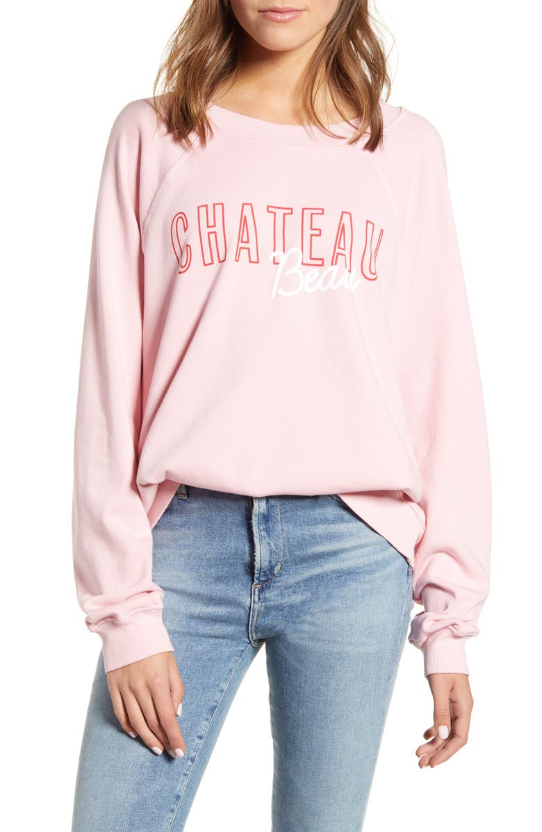 WILDFOX Chateau Beau Cotton Sweatshirt, Main, color, CARNATION