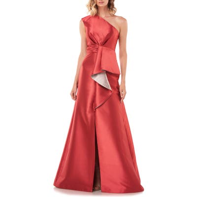 Kay Unger Riley One Shoulder Gown, Red