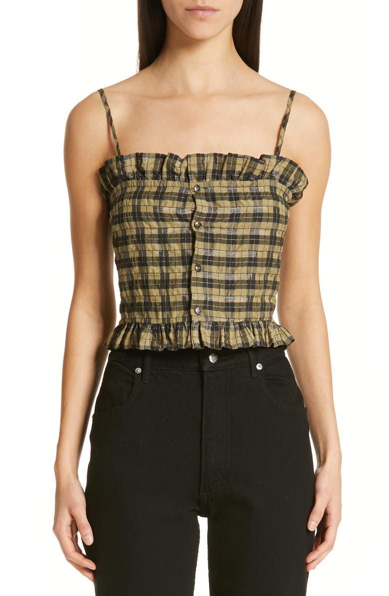 GANNI Seersucker Check Sleeveless Top, Main, color, 300