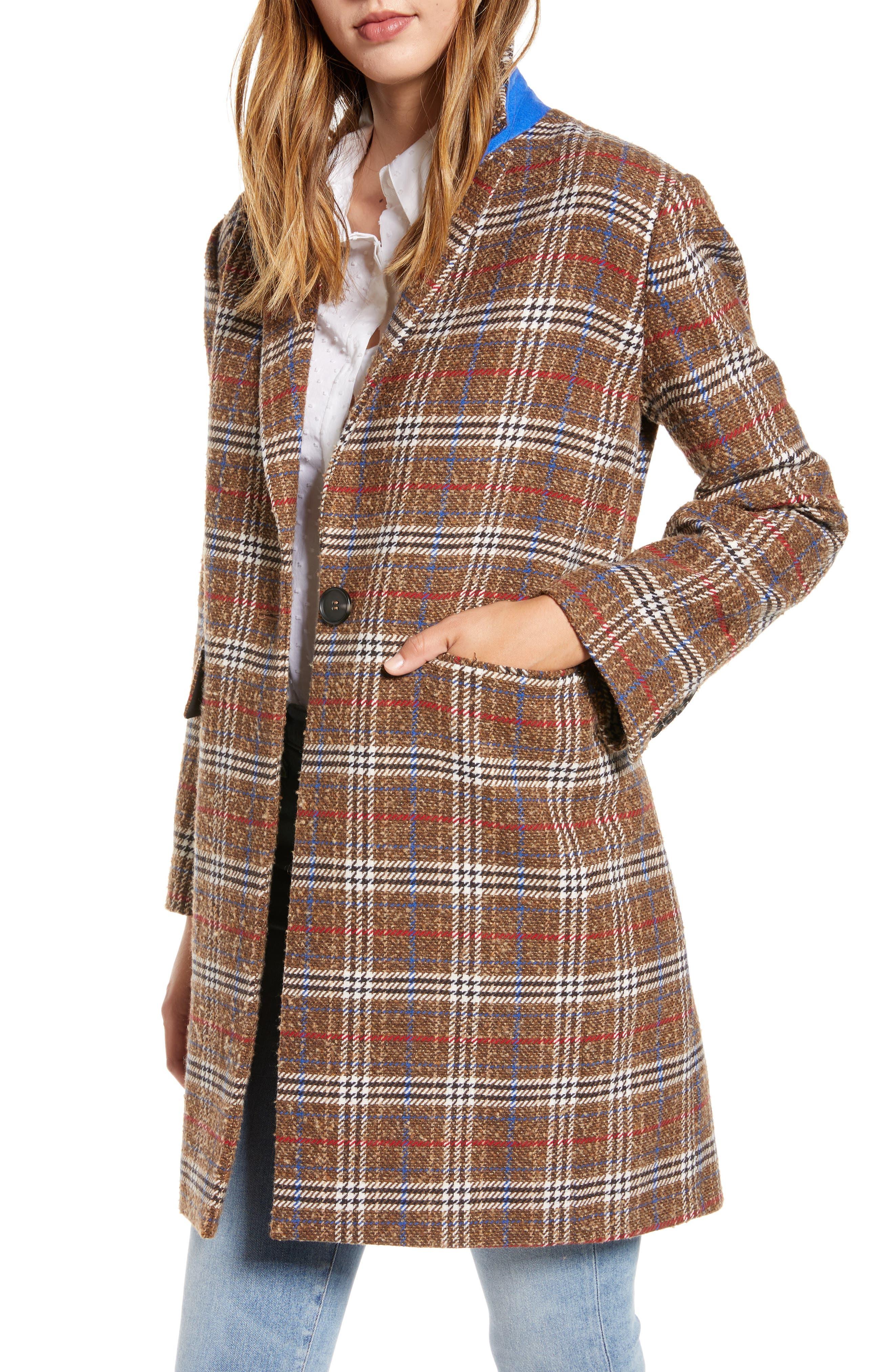Court & Rowe Plaid Bouclé Topper Coat