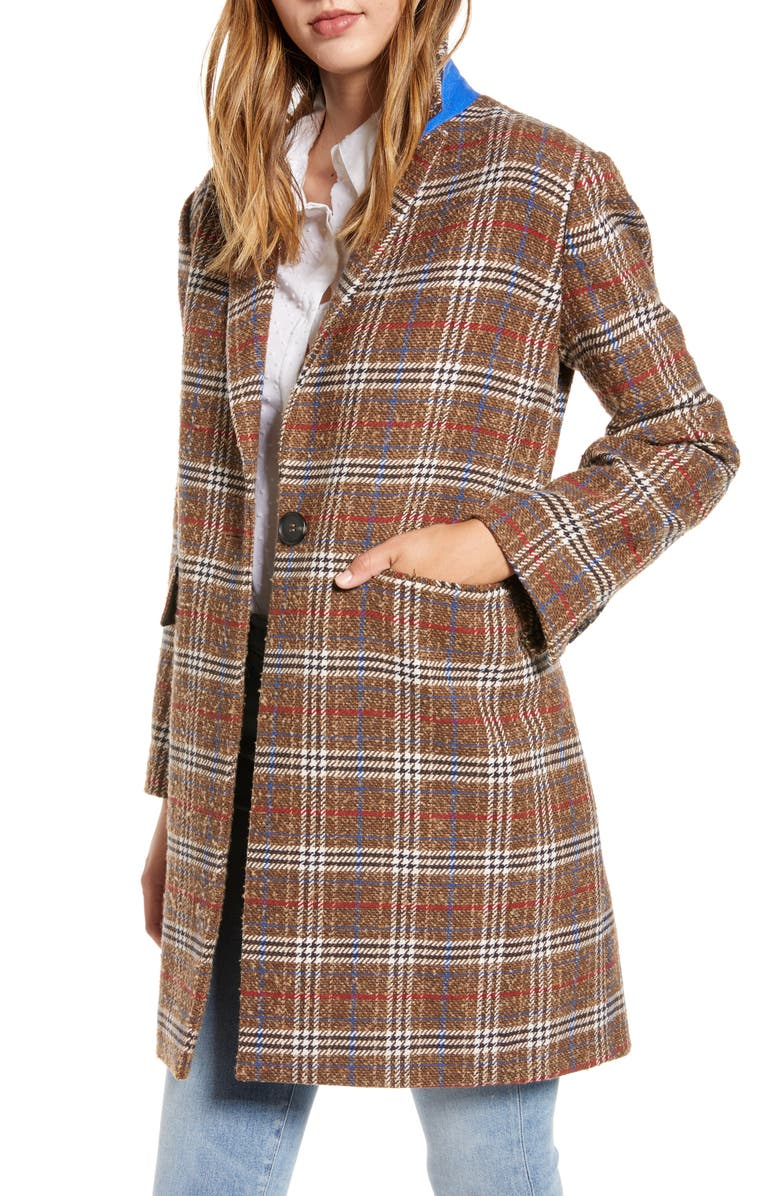 COURT & ROWE Plaid Bouclé Topper Coat, Main, color, TRUE CAMEL