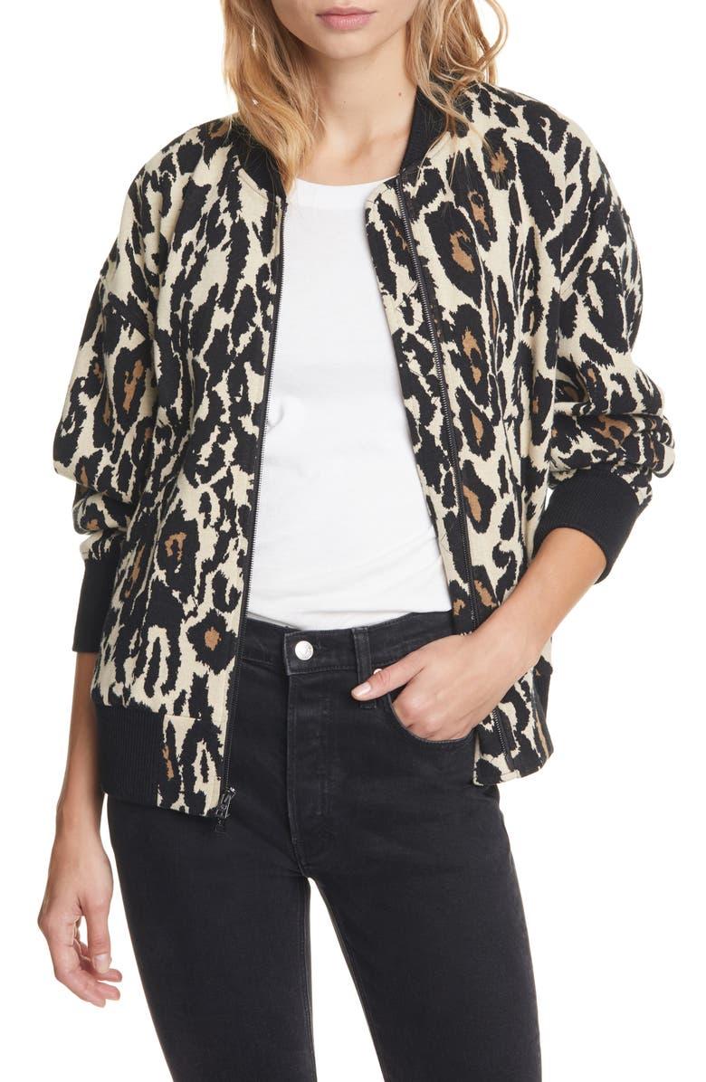 DVF Leopard Print Cotton Bomber Jacket, Main, color, NATURAL/BLACK