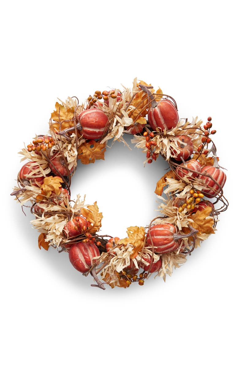ALLSTATE Pumpkin & Cornhusk Fall Wreath, Main, color, ORANGE BEIGE
