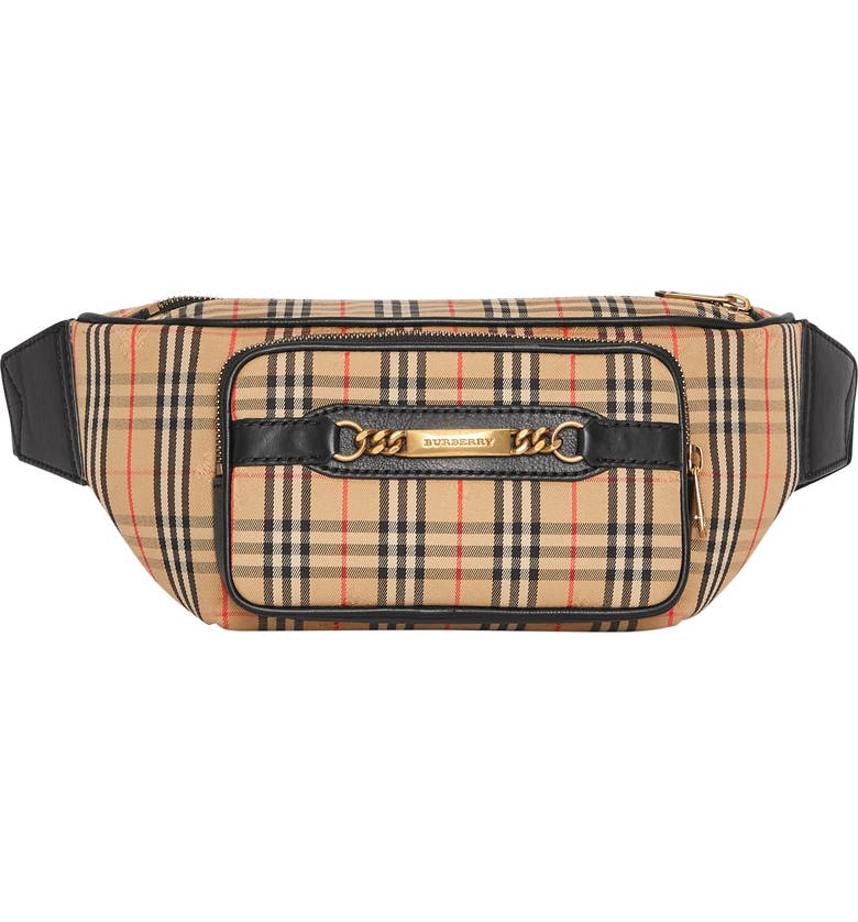 BURBERRY Joey Check Waist Pack, Main, color, 001