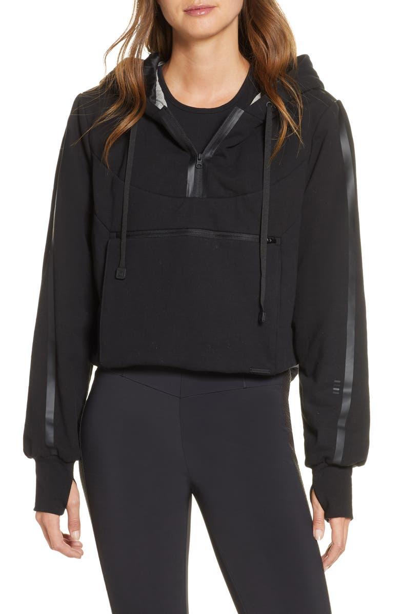 BLANC NOIR Packable Knit Crop Hoodie, Main, color, BLACK