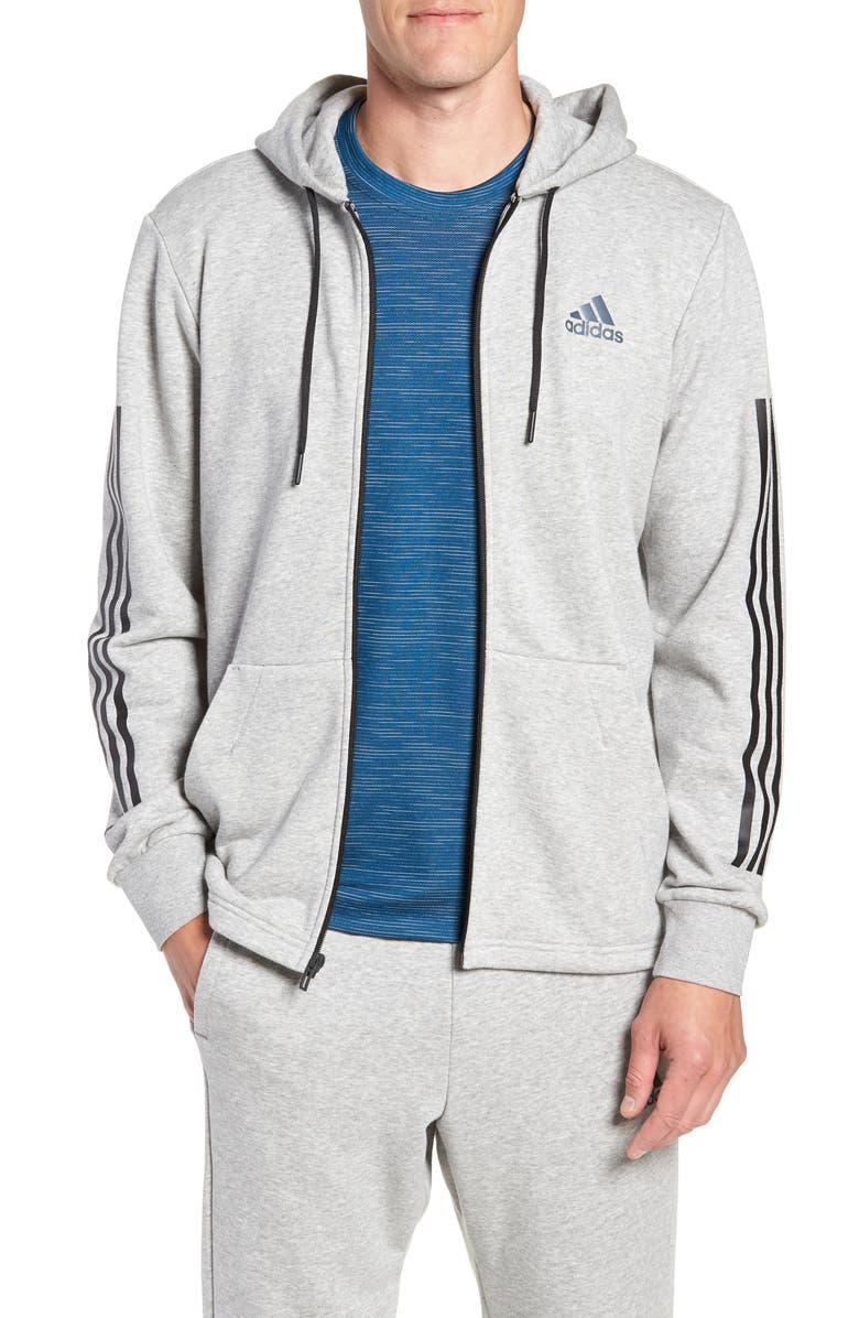 ADIDAS 3-Stripes Full Zip Hoodie, Main, color, MEDIUM GREY HEATHER/ BLACK