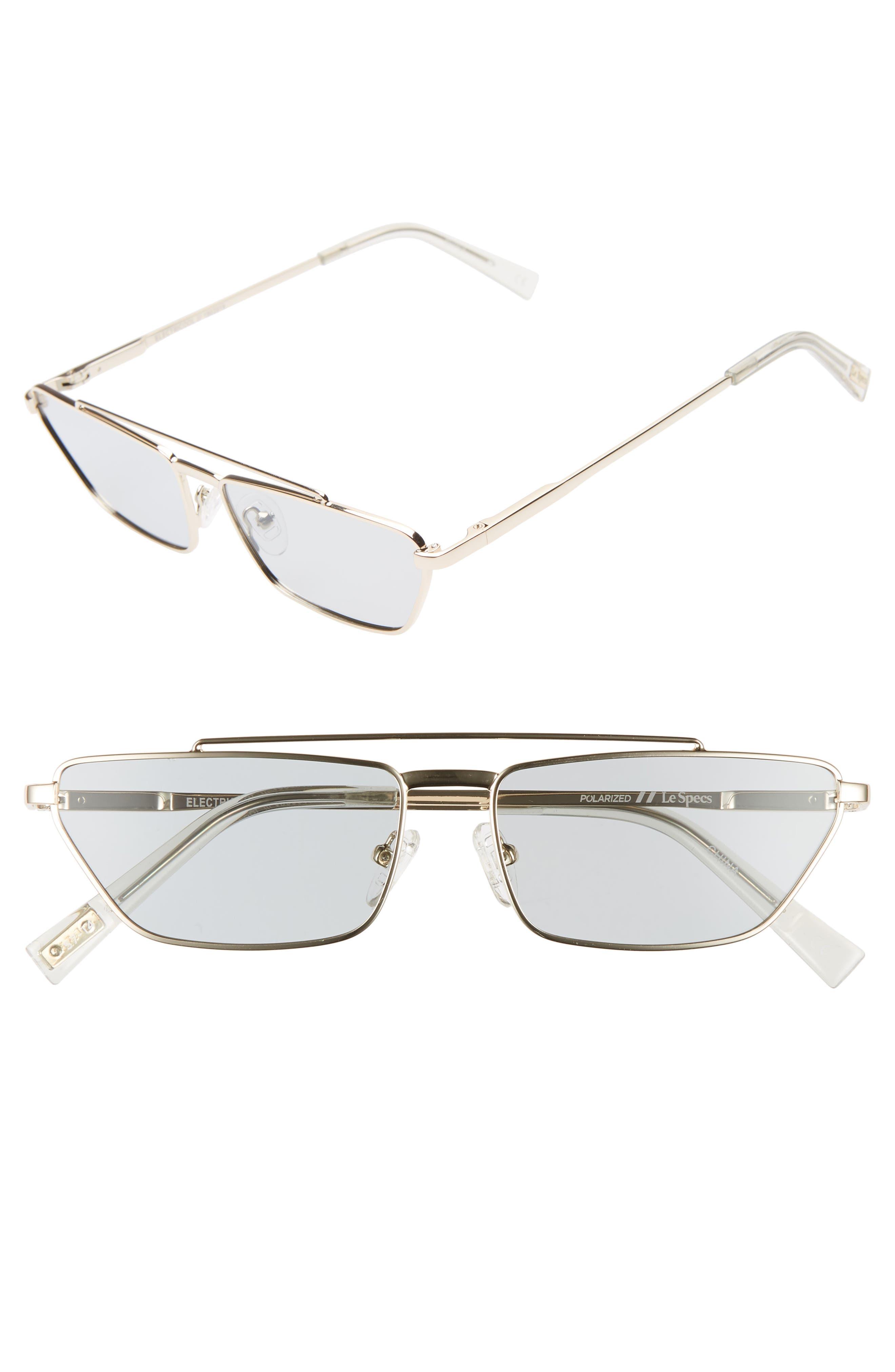 Le Specs Electricool 57Mm Polarized Cat Eye Aviator Sunglasses - Gold/ Grey Tint