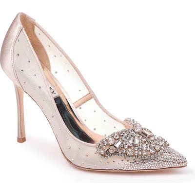 Badgley Mischka Quintana Crystal Embellished Pump- Beige