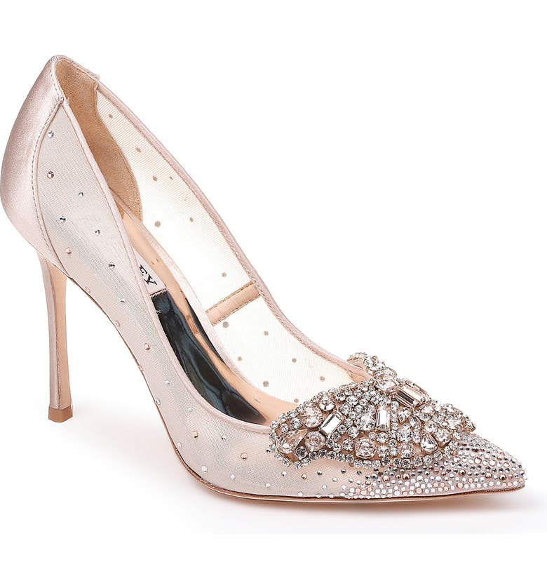 BADGLEY MISCHKA COLLECTION Badgley Mischka Quintana Crystal Embellished Pump, Main, color, LATTE SATIN/ MESH