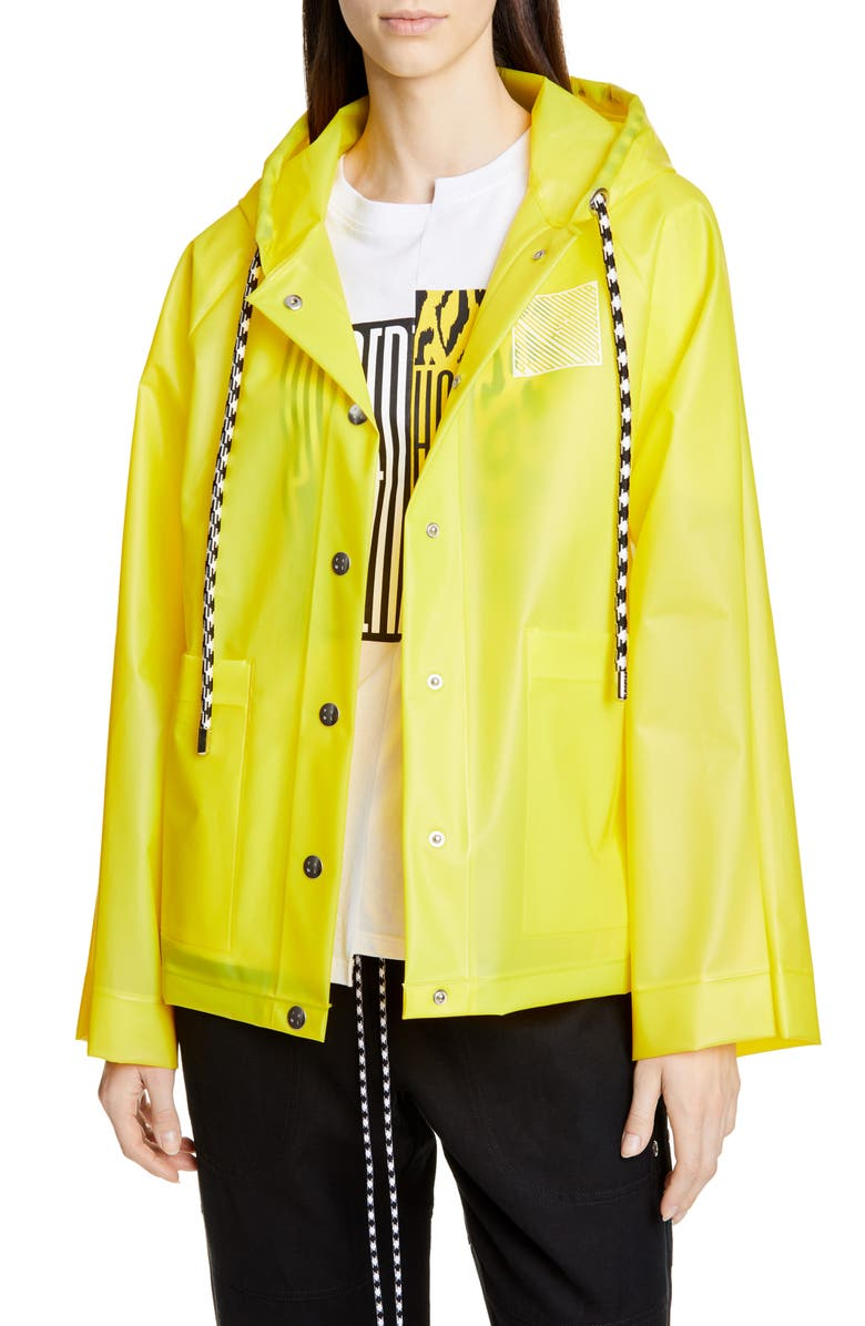 PROENZA SCHOULER WHITE LABEL Proenza Schouler PSWL Care Label Graphic Raincoat, Main, color, BUTTERCUP