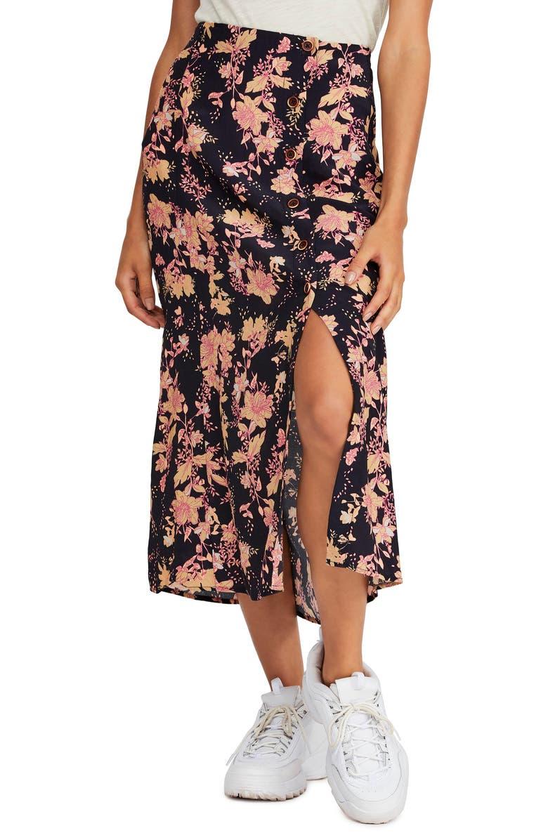 FREE PEOPLE Retro Love Midi Skirt, Main, color, BLACK COMBO