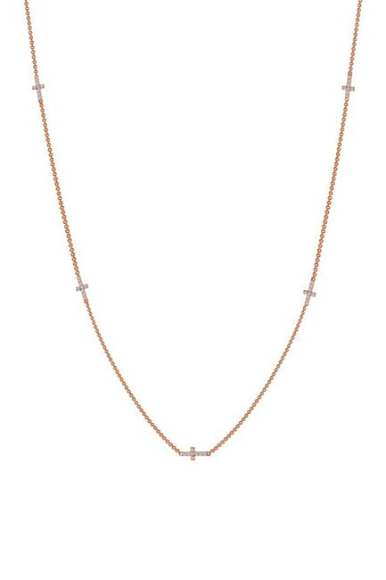 Image of LaFonn Rose Gold Plated Sterling Silver Micro Pave Simulated Diamond Multi Cross Necklace