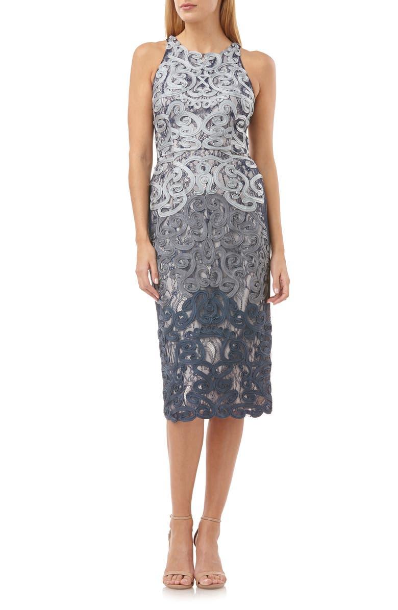 JS COLLECTIONS Soutache Lace Midi Dress, Main, color, CLOUD NAVY