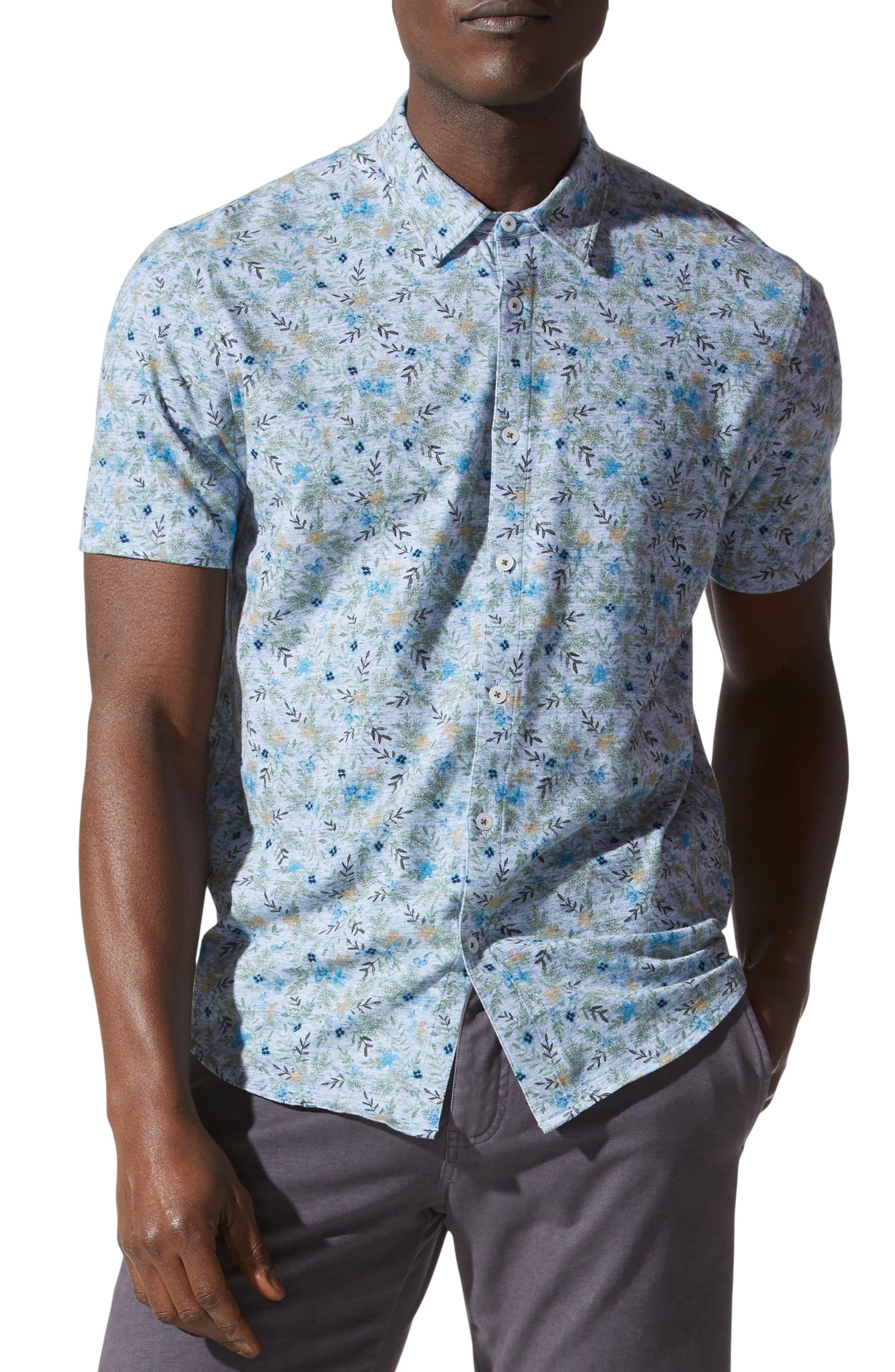 Knit Short Sleeve Button-Up Shirt
