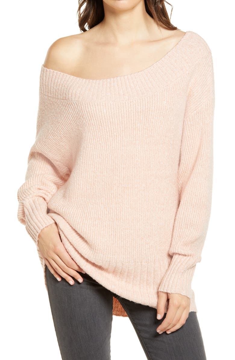 CHELSEA28 Ribbed Off the Shoulder Sweater, Main, color, PINK SMOKE