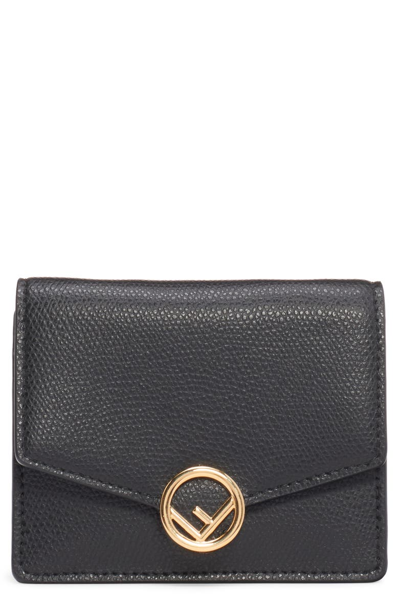 FENDI Leather Wallet on a Chain, Main, color, NERO/ ORO SOFT