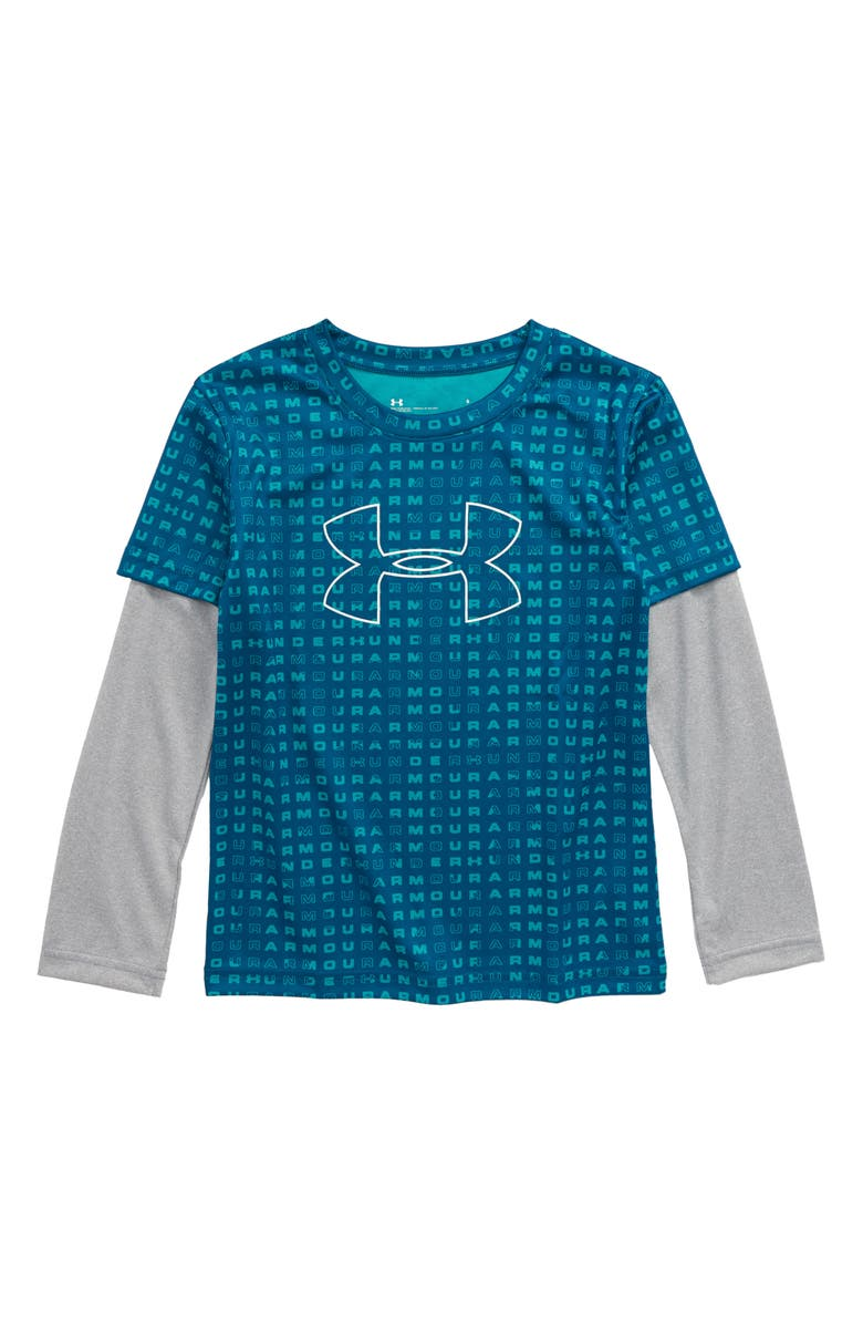 UNDER ARMOUR Wordmark Slider Layered T-Shirt, Main, color, TEAL VIBE