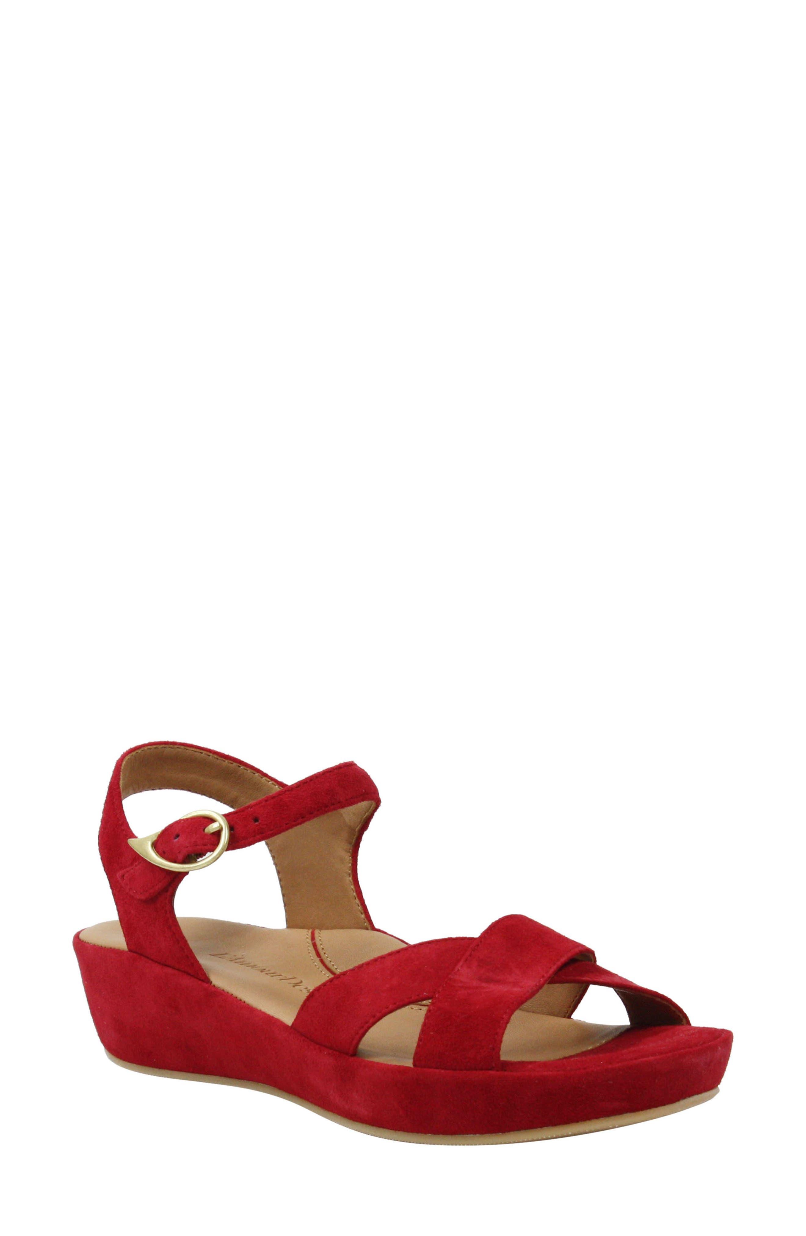 1940s Style Shoes, 40s Shoes Womens LAmour Des Pieds Casimiro Sandal Size 9 M - Red $188.95 AT vintagedancer.com