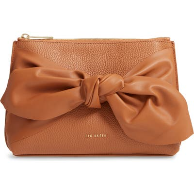 Ted Baker London Darnna Soft Knot Leather Clutch - Brown