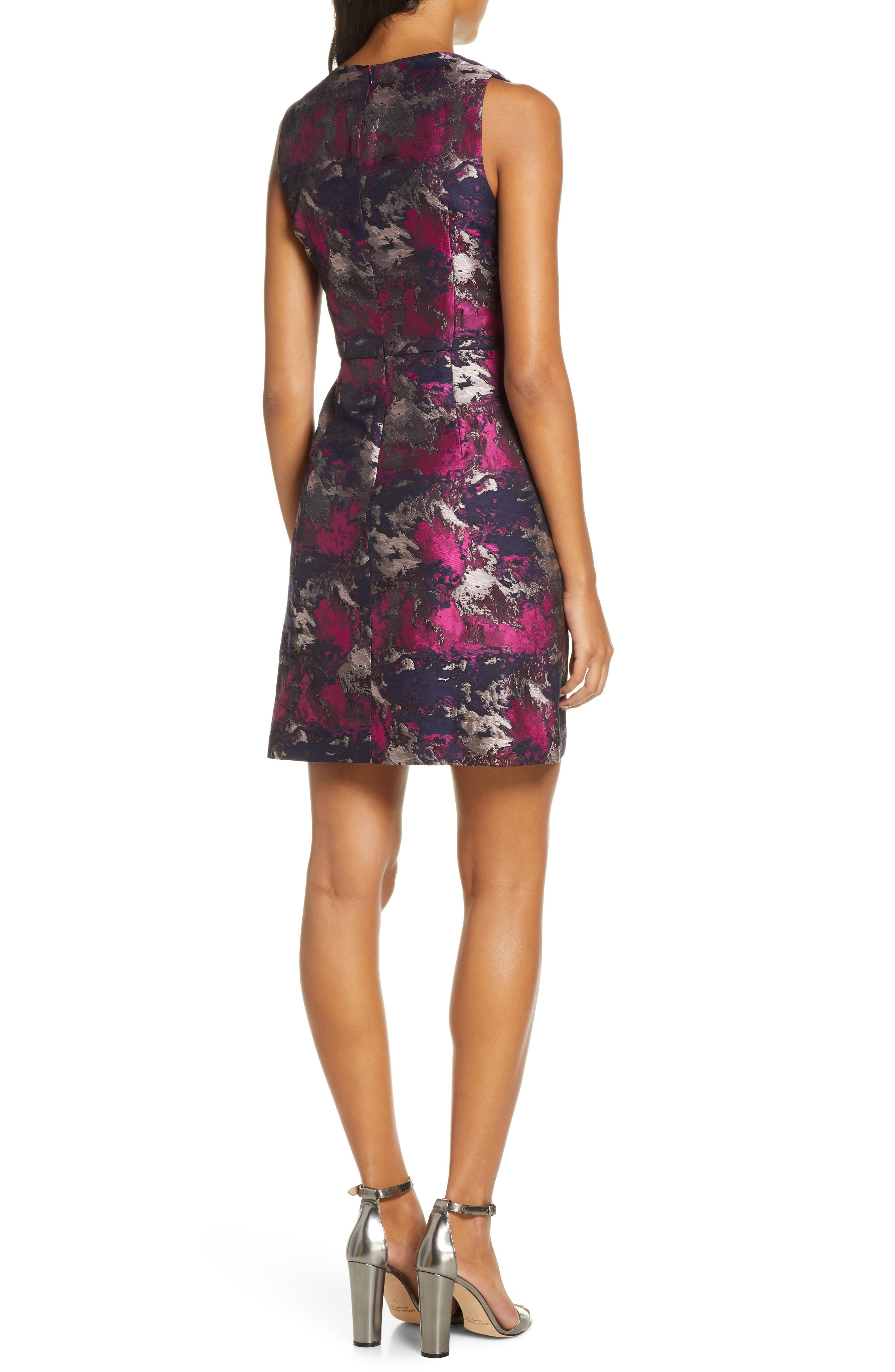 Vince Camuto Dresses Metallic Asymmetrical Peplum Sheath Dress