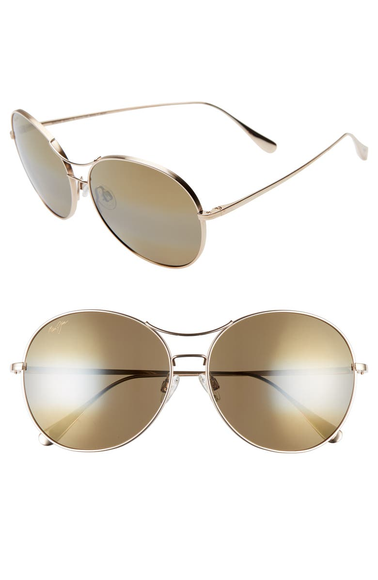 MAUI JIM Opihi 61mm PolarizedPlus2<sup>®</sup> Round Sunglasses, Main, color, GOLD/ HCL BRONZE