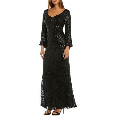Morgan & Co. Sequin Bell Sleeve Evening Dress