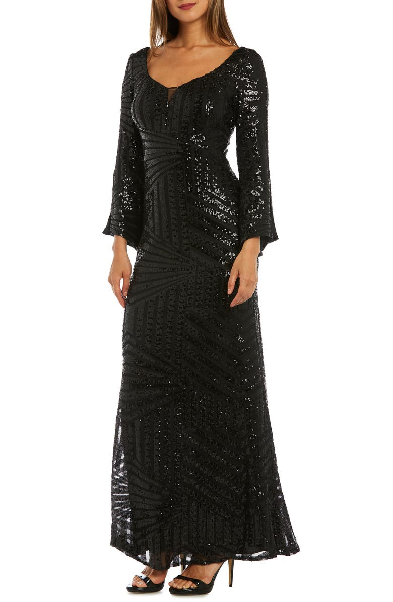 MORGAN & CO. Sequin Bell Sleeve Evening Dress, Main, color, BLACK