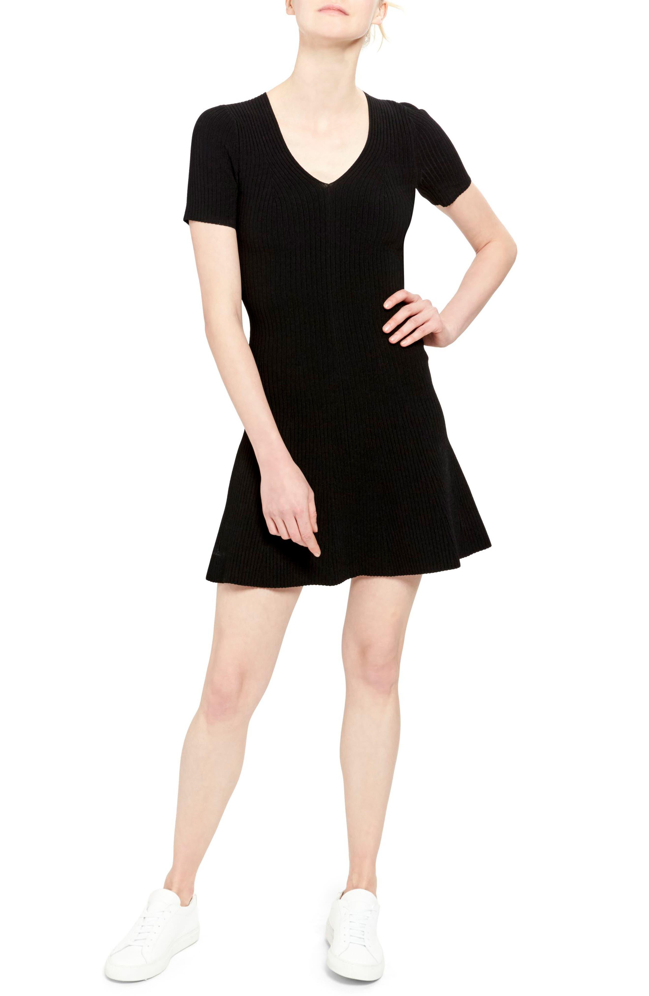 Theory Ribbed Flare Minidress, Black