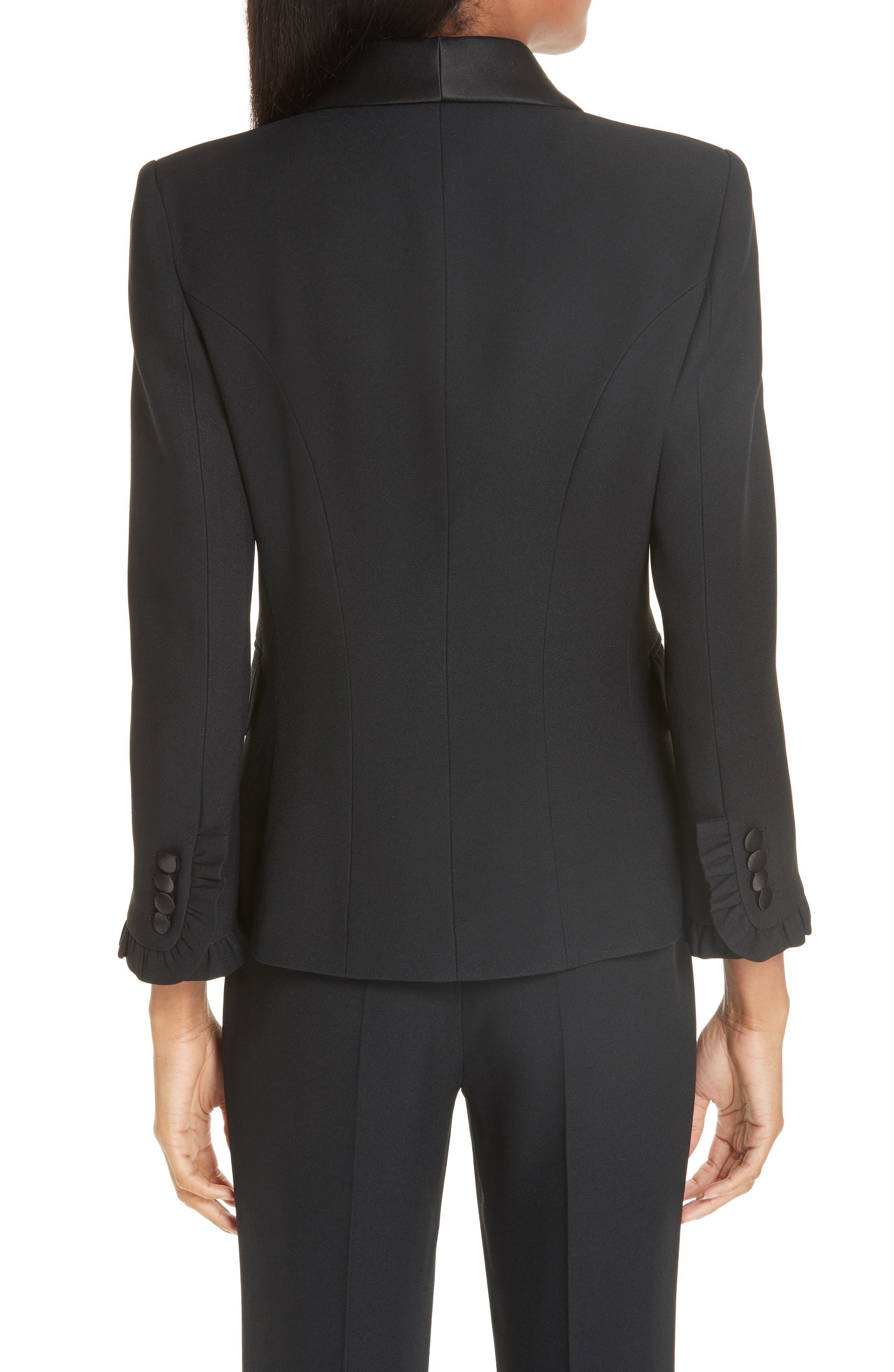 ,                             Ruffle Cuff Double Crepe Sable Tuxedo Jacket,                             Alternate thumbnail 2, color,                             BLACK