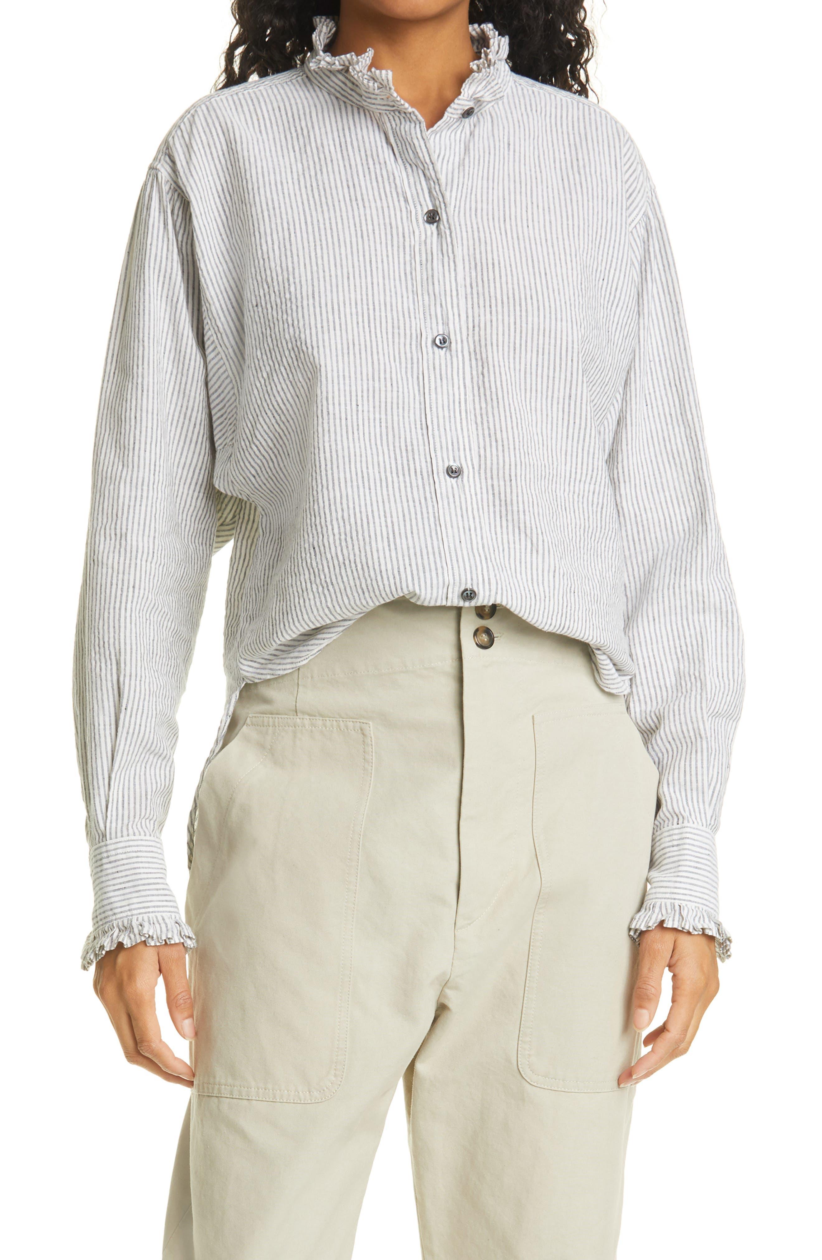 Women's Isabel Marant Etoile Saoli Stripe Cotton & Linen Button-Up Shirt
