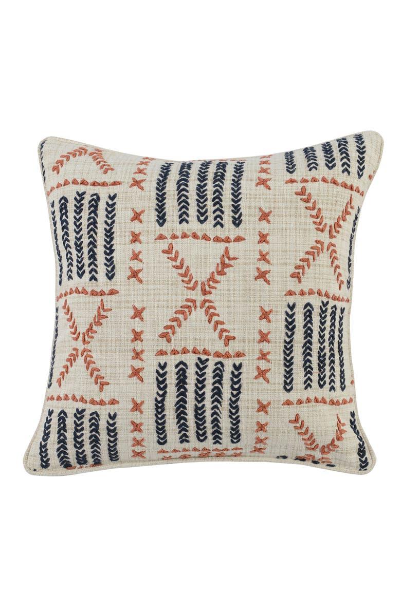 VILLA HOME COLLECTION Ezra Embroidered Accent Pillow, Main, color, NAVY/ ORANGE