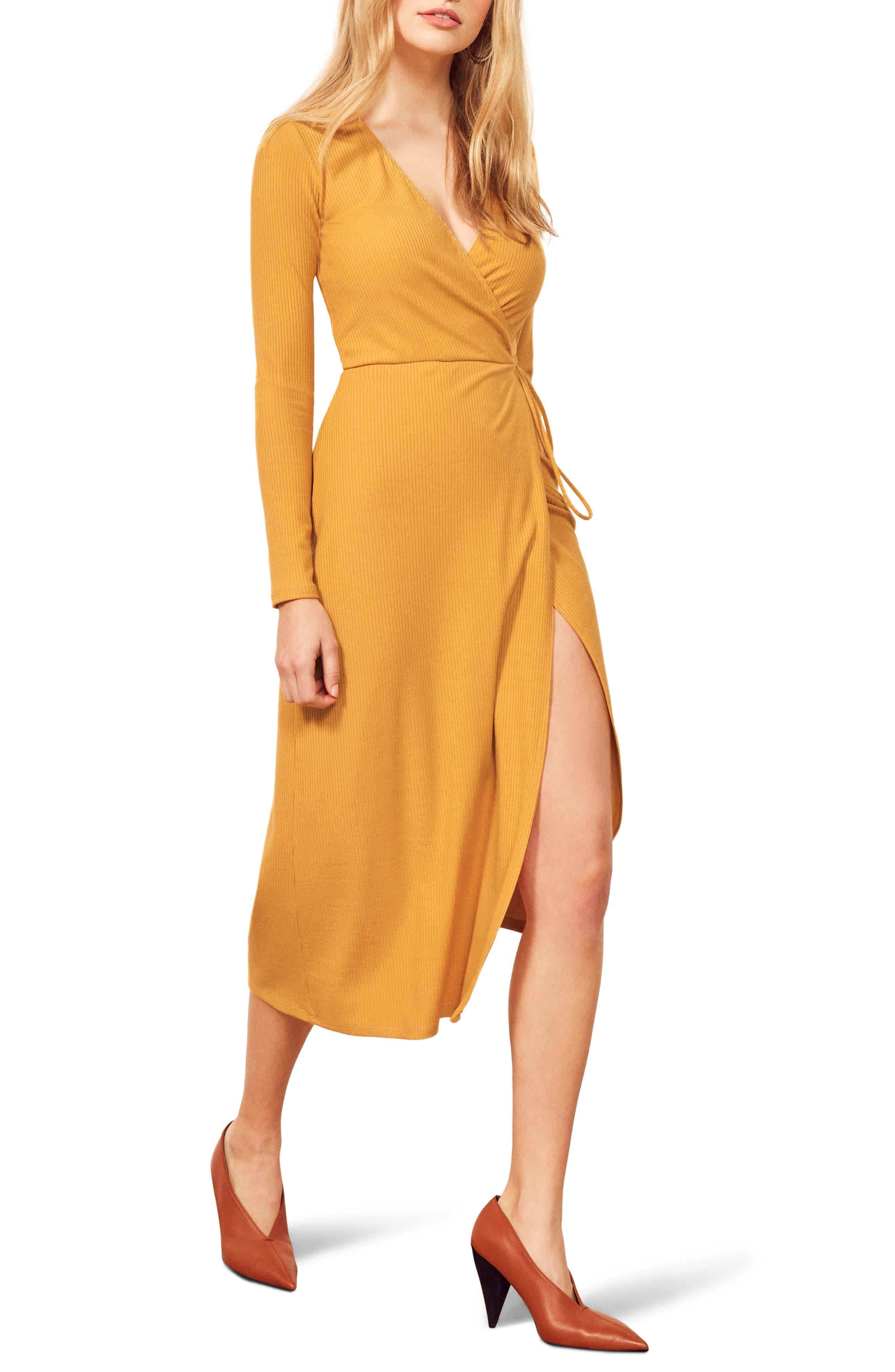 Reformation Celine Wrap Sweater Dress, Yellow