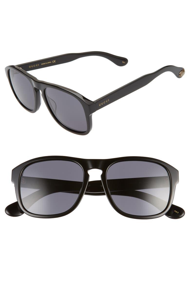 GUCCI 55mm Navigator Sunglasses, Main, color, BLACK