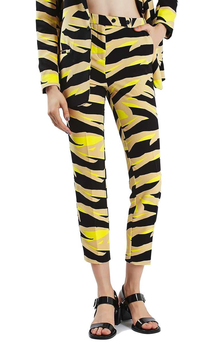 TOPSHOP Tiger Print Cigarette Trousers, Main, color, 700