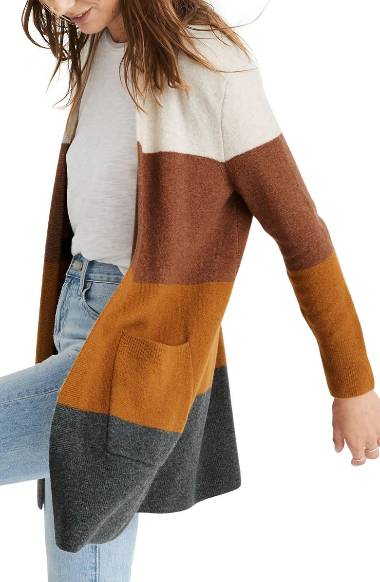 MADEWELL Kent Colorblock Long Cardigan, Main, color, HEATHER LINEN