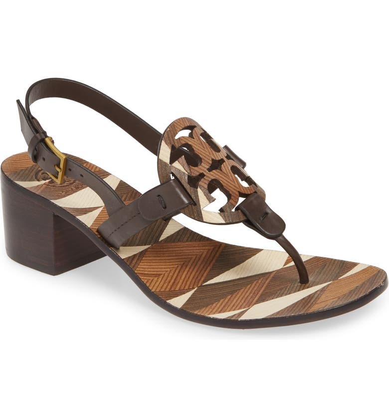 TORY BURCH Miller Logo Slingback Sandal, Main, color, BROWN/ IVORY CUOIO/ COCONUT