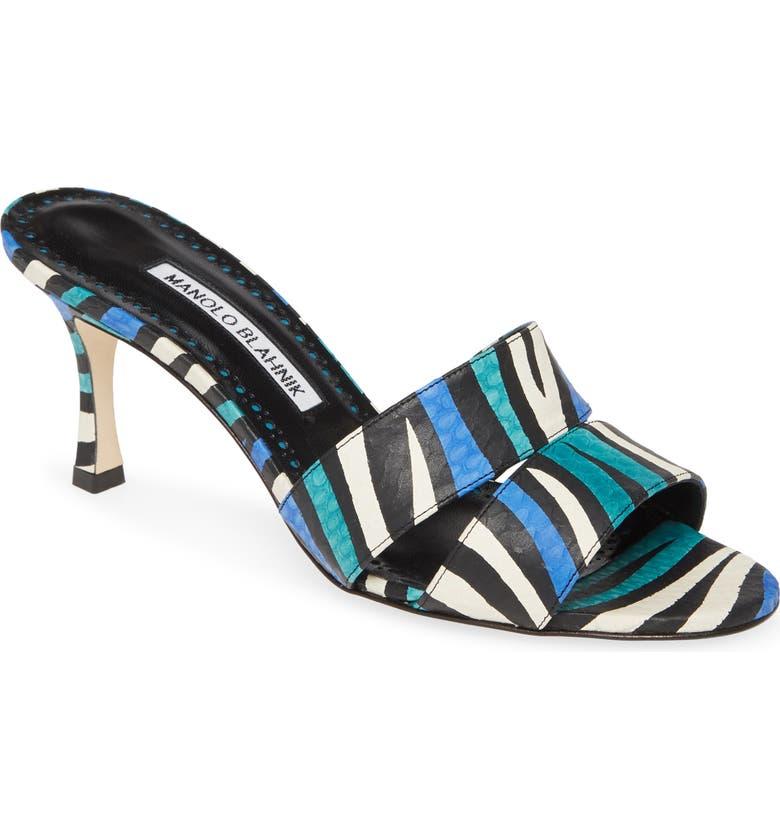 MANOLO BLAHNIK Iacopo Genuine Snakeskin Sandal, Main, color, ZEBRA BLUE TEAL
