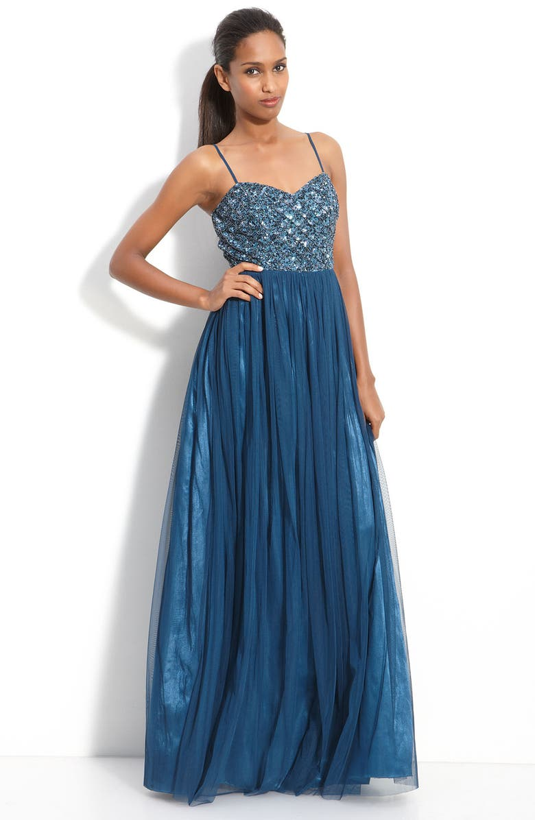 ADRIANNA PAPELL Jeweled Tulle Gown, Main, color, 433