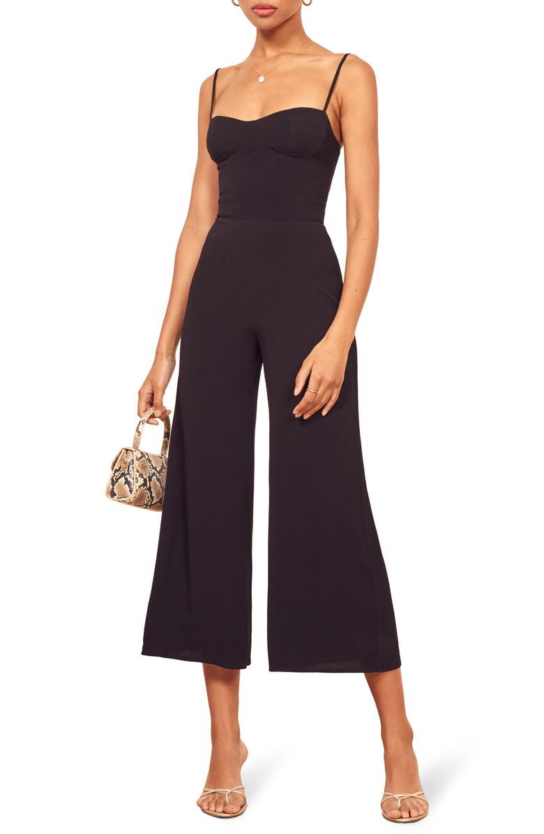 REFORMATION Gilda Crop Wide Leg Jumpsuit, Main, color, 001