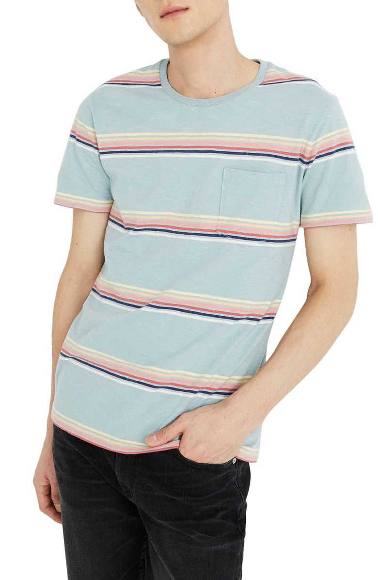 MADEWELL Allday Easley Stripe Pocket T-Shirt, Main, color, BLUE OMBRE STRIPE ANTIQUE BLUE