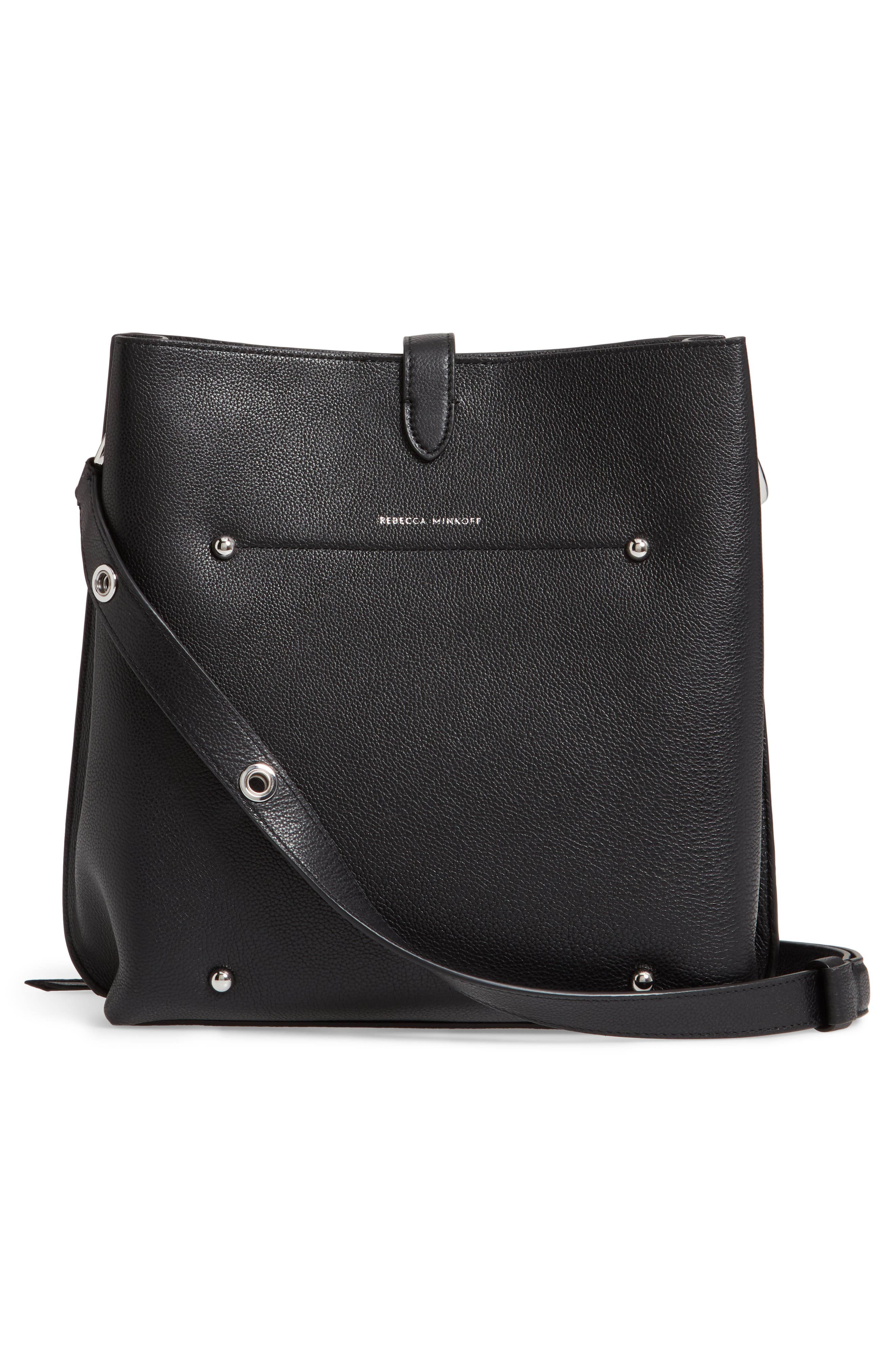 ,                             Megan Leather Crossbody Bag,                             Alternate thumbnail 4, color,                             BLACK