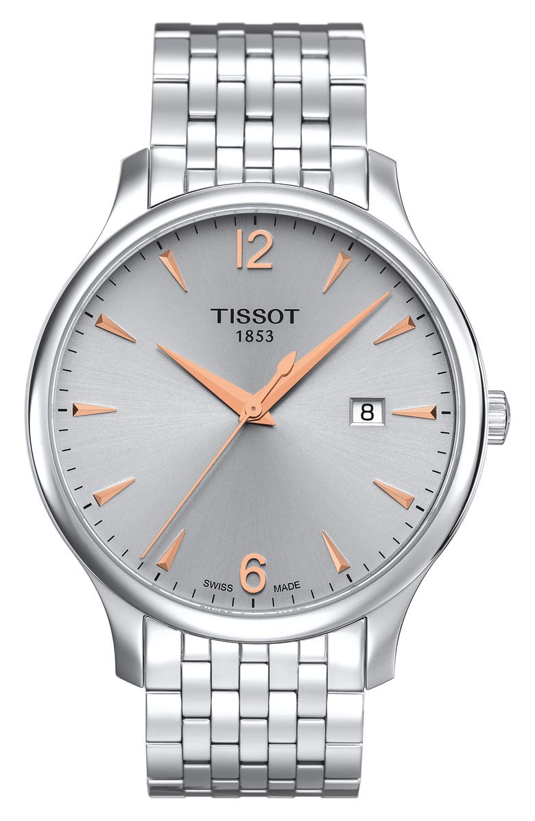 TISSOT Tradition Bracelet Watch, 42mm, Main, color, SILVER/ ROSE GOLD