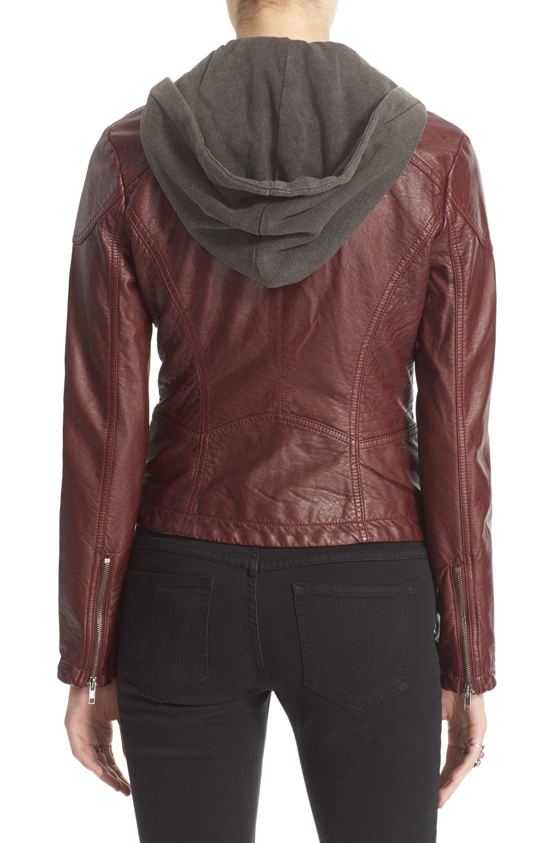 ,                             Hooded Faux Leather Moto Jacket,                             Alternate thumbnail 7, color,                             600