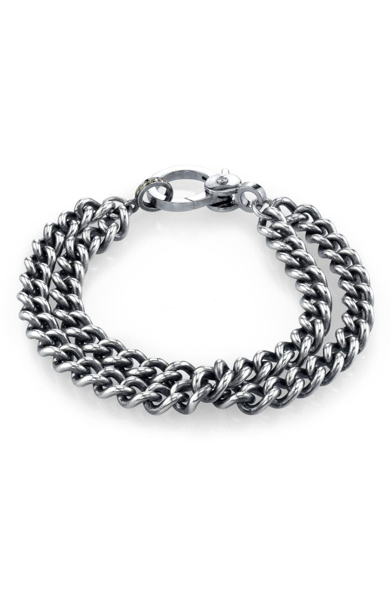 SHERYL LOWE Double Curb Chain Bracelet, Main, color, STERLING SILVER