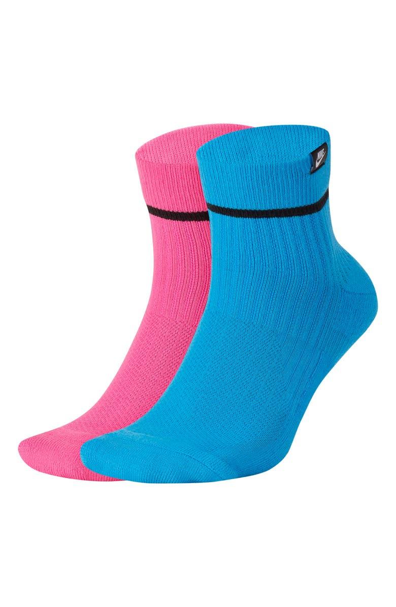 NIKE 2-Pack SNKR Sox Ankle Socks, Main, color, PINK/ BLUE