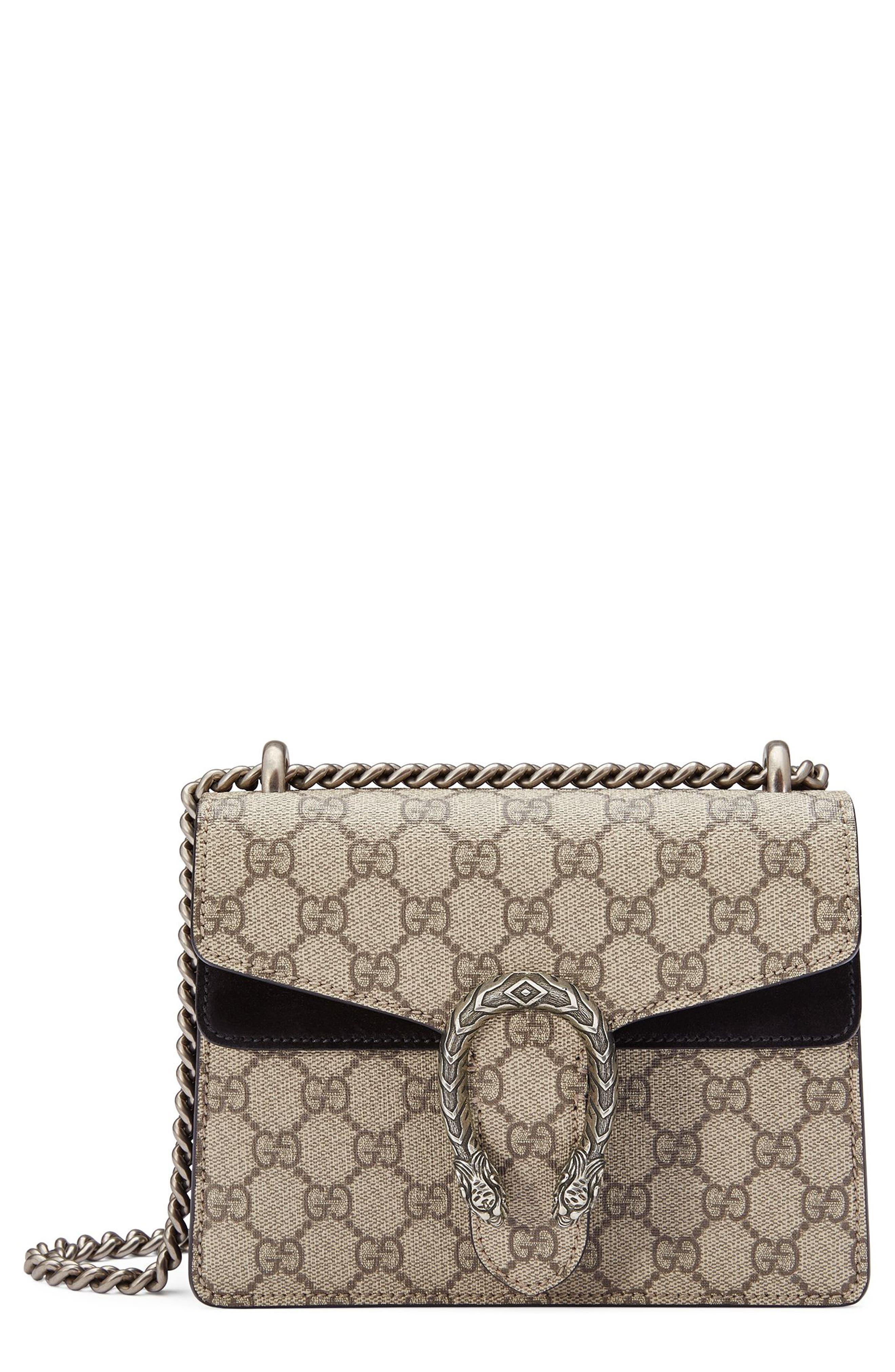 ,                             Mini Dionysus GG Supreme Shoulder Bag,                             Main thumbnail 1, color,                             BEIGE EBONY/ NERO