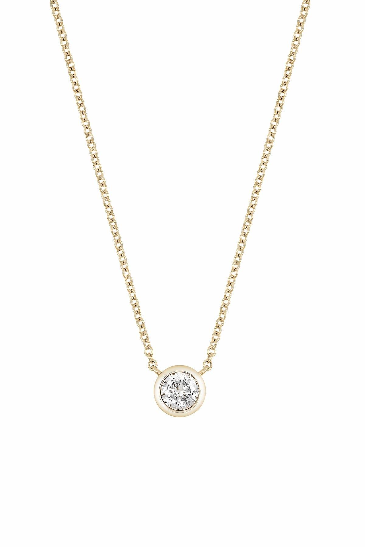 Image of Bony Levy 14K Yellow Gold Bezel Set Diamond Solitaire Pendant Necklace - 0.25 ctw